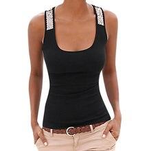 1feaed091e0a De moda tapa del tanque de las mujeres más tamaño sin mangas lentejuelas  chaleco Tops de