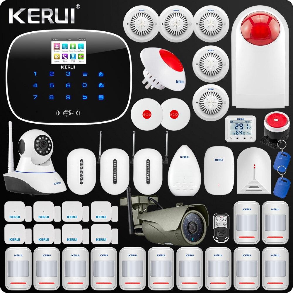 Kerui W193 3G WIFI PSTN GSM maison cambrioleur LCD écran tactile alarme sécurité à domicile système d'alarme 1080 P caméra wifi extérieure