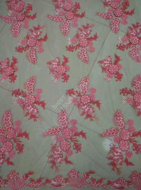 Hot 3d blume Gestickte muster design Afrikanische spitze rosa, blau ...
