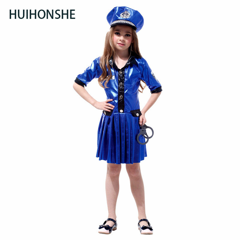 Kids Police Costume Policewoman Costume For Girls Fantasia Infantil Halloween Fancy Costume Girls Police clothes No Handcuffs