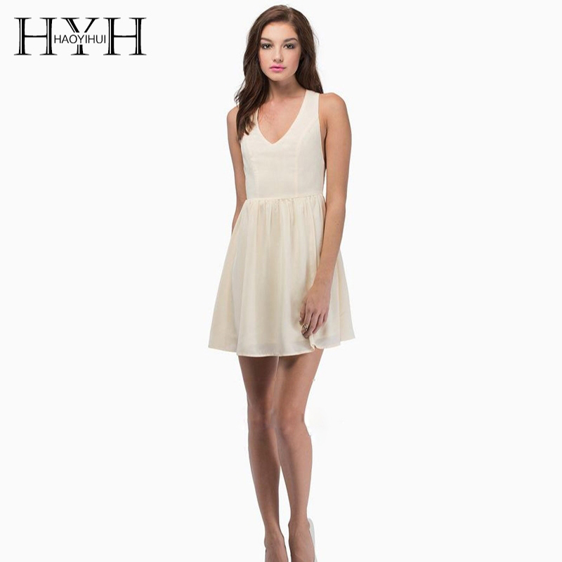 HYH Haoyihui Green White Color Women Mini Dresses Sleeveless V Neck Backless High Waist A line