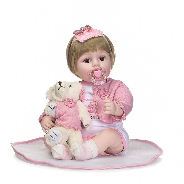 50CM Cute Girl Silicone Reborn Dolls Toys Brown Eyes Short Hair Bonecas Baby Real Alive  ...