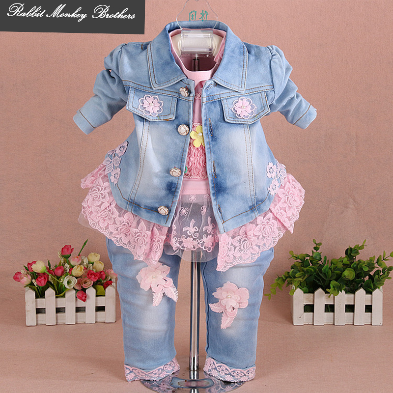 2722b5d30573 Baby girl clothes new spring autumn newborn Girl denim three-piece set  Flower Lace Girl Baby Set suits for infant girl