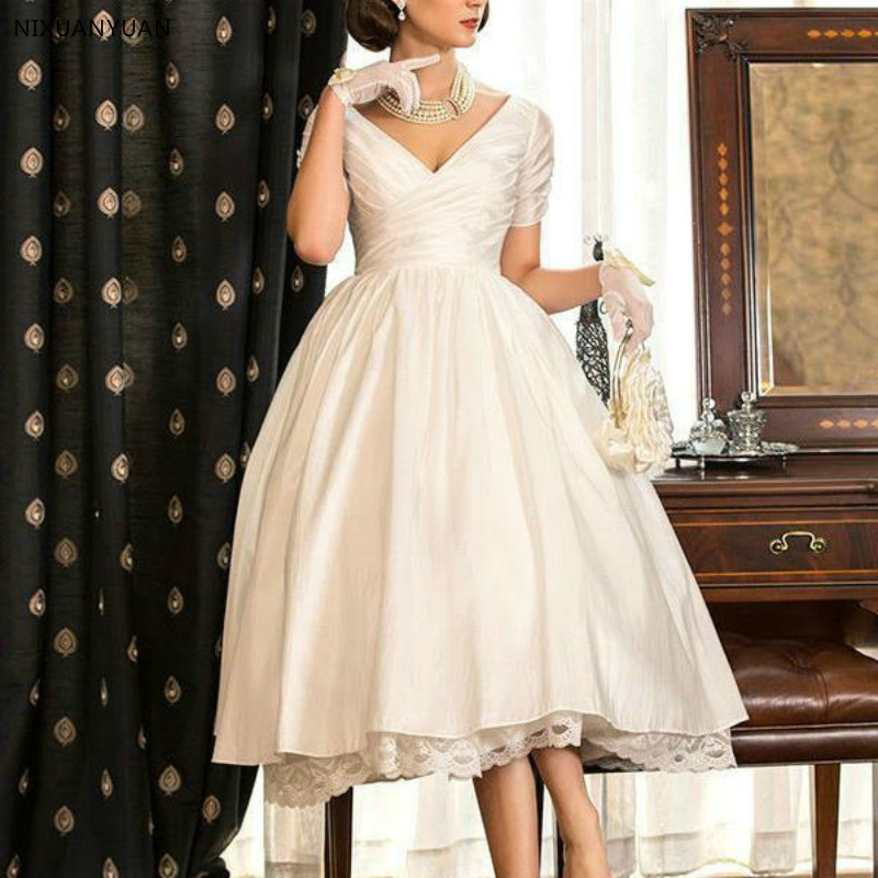 2020 New V Neck Short Sleeve Zipper Ivory Taffeat Wedding Gown Vestido De Noiva Cheap Custom Tea Length Short Wedding Dresses