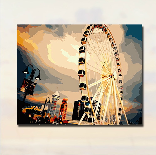 Newest framed painting by numbers paint by numbers painting on canvas picture oil painting home decor Ferris wheel