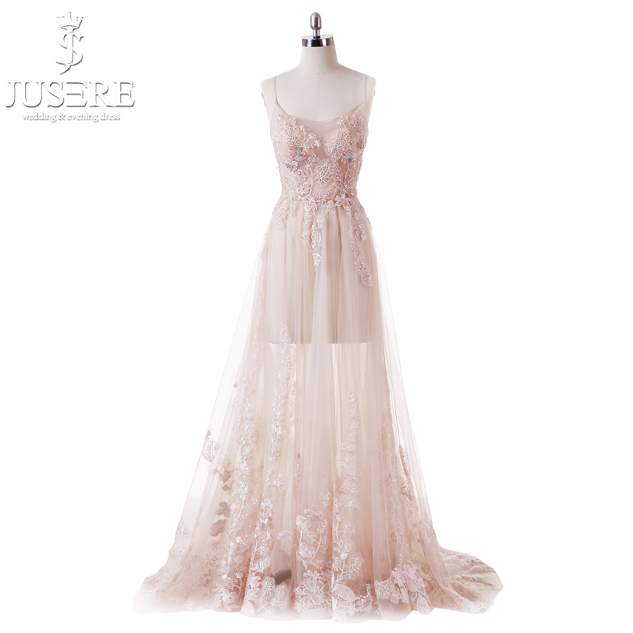Sweet Light Pink Flower Fairy Princess Prom Dress Transparent Spaghetti Straps Sequine Bead Party Ball Gown Robe De Soiree