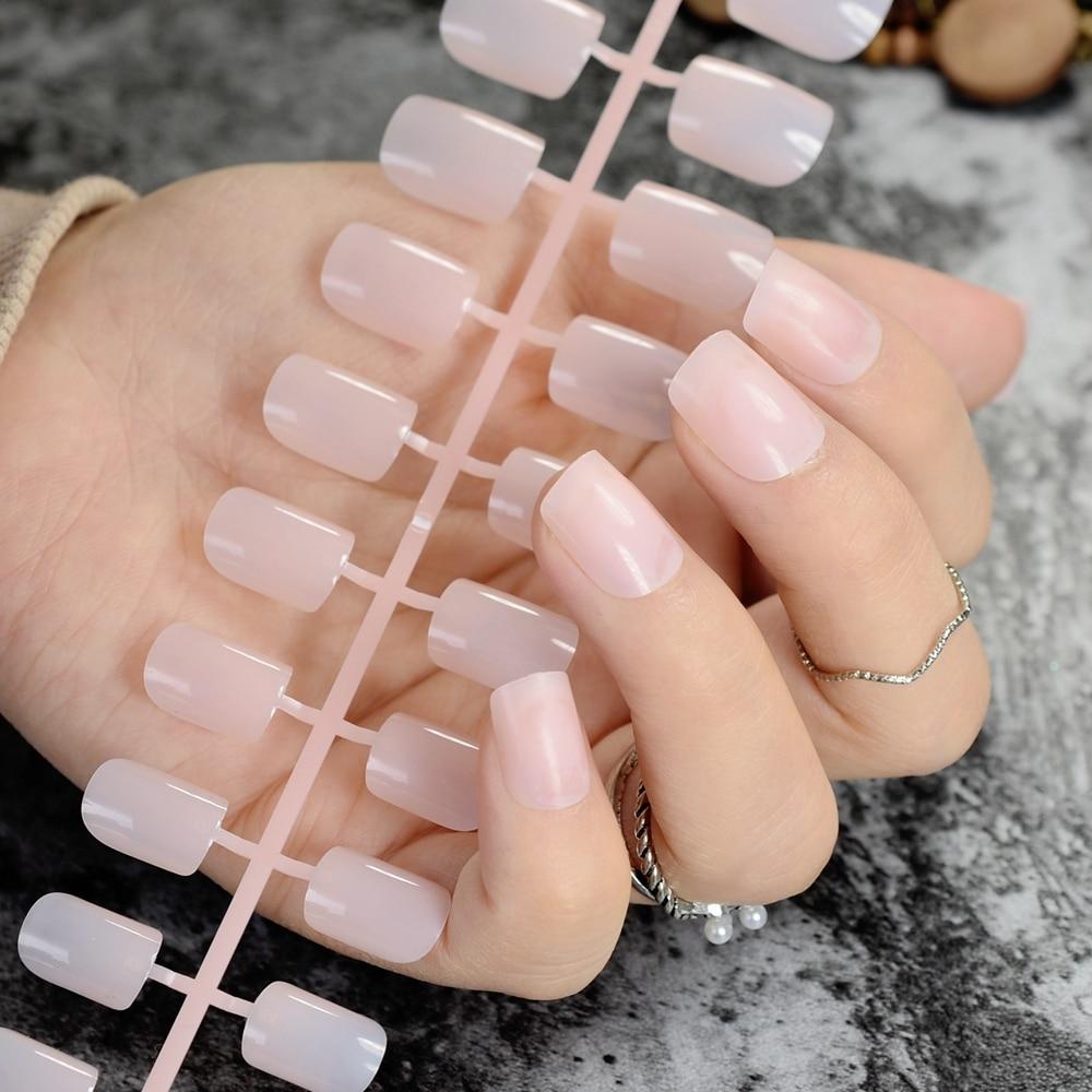 Medium Square Fake Nails Summer Clear Nude False Nails Tips Cute ...