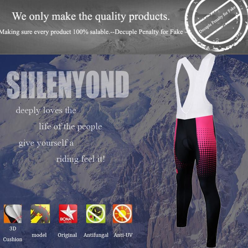 Siilenyond 2019 Pro Women Winter MTB Bicycle Cycling Bib Pants Keep Warm Cycling Trousers Cycling Bib Tights With 3D Gel Padded 1