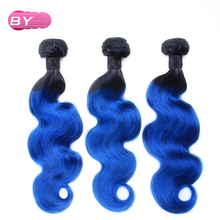 BY  Brazilian Pre-Colored Body Wave Raw Hair 1B-Blue Color One Piece Non-Remy Human Hair 12-24 inch For Salon Hair Extension