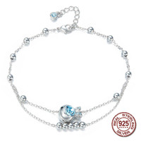 100% S925 Sterling Silver Rhinestone Crystals from Swarovski Anklet Foot Bracelets for Women Valentine's Day Gift Jewelry