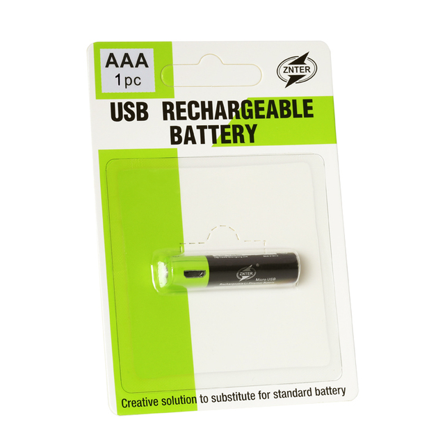 ZNTER 1PC AAA Rechargeable Lithium Battery 1.5V 400mAh with MICRO USB Charging Cable For RC Camera Drone 1