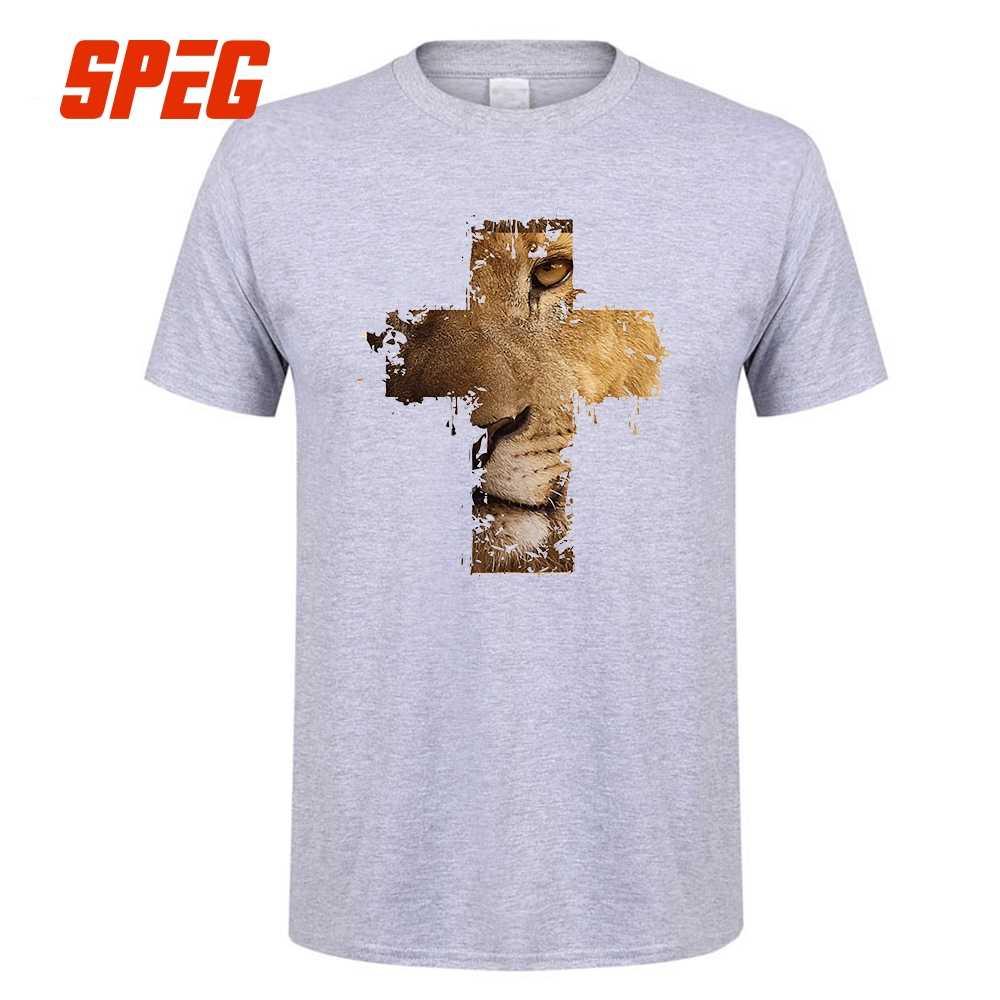 a19995a5 ... Custom Made T Shirts Lion Cross Christian Animal Homme Round Neck Short  Sleeve Tee Shirts Cheap ...