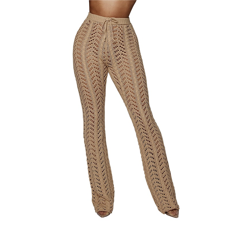 US $18 19 30% OFF|IASKY New crochet hollow out beach long pants trousers  2018 see through bikini swimsuit cover ups bathing suit cover up -in