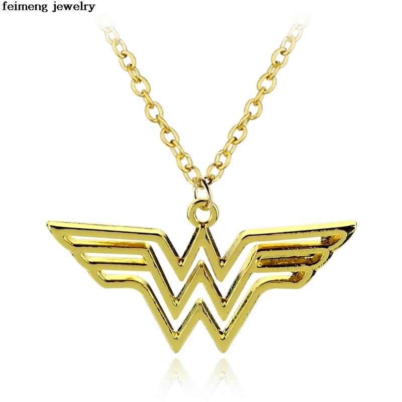 Оптовая продажа 20 шт./лот золото Wonder Woman Цепочки и ожерелья, Диана Prince Шарм, чудо-женщина Jewelry супер герой женщина аксессуары ювелирные издели...
