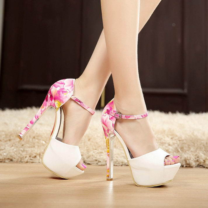 dcca5e44aaad Sexy Pink Women High Heel Rose Floral Pumps Woman Wedding Bride Party  Sandals White Summer Ankle Strap Heels Peep Toe Platforms-in Women s Pumps  from Shoes ...