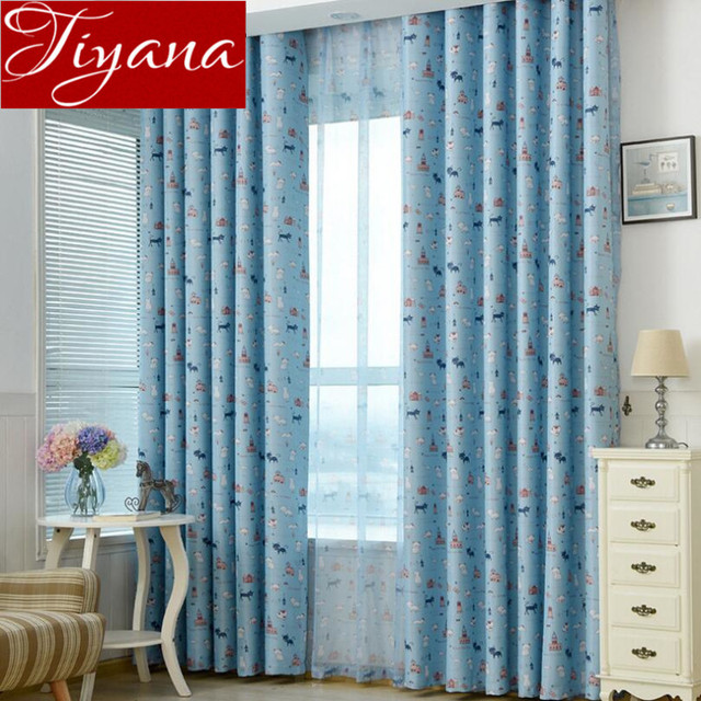 cat curtains kids room print sheer voile blue curtains window modern living room tulle curtain fabrics - Cat Curtains