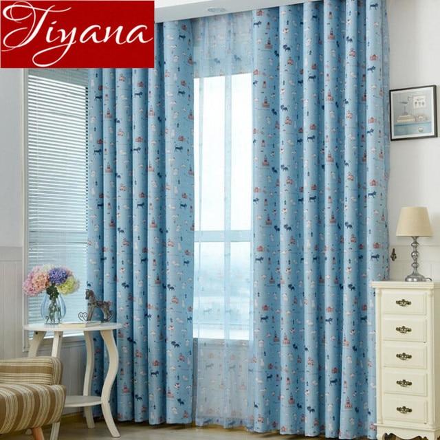 kat gordijnen kinderkamer print sheer voile blauw gordijnen venster moderne woonkamer tulle gordijn stoffen gordijnen cortinas