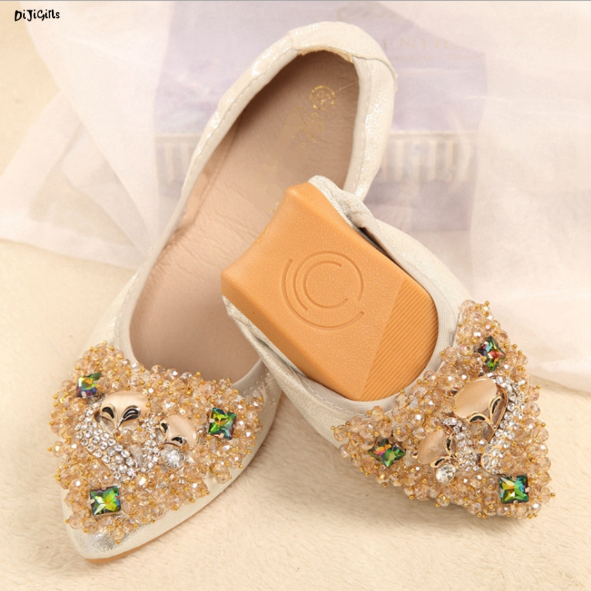 Women Fashion Rhinestone Beads Ballet Flats Plus Size Slip On Pointed Toe Soft Comfortable Casual Shoes Woman yh01 lady glitter high fashion designer brand bow soft flock plus size 43 leisure pointed toe flats square heels single shoes slip on
