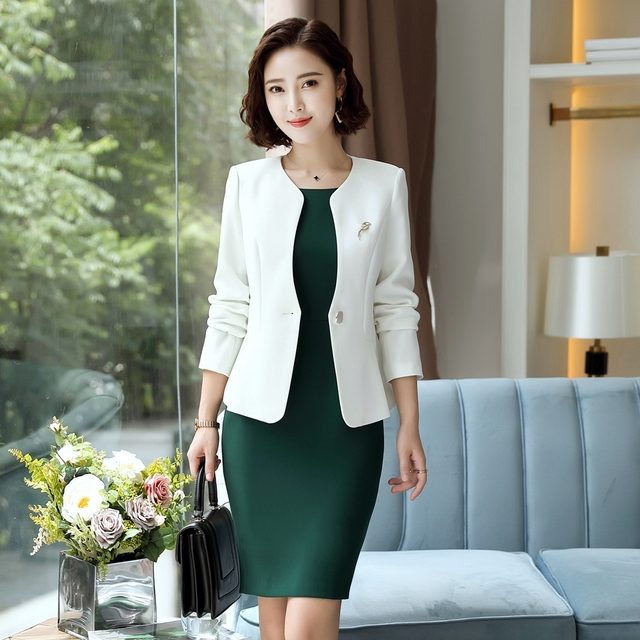 Fmasuth Woman Office Suits 2 Pieces Set White Jacket Sleeveless