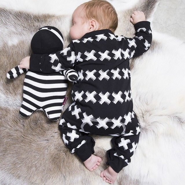 6c1bf8276db2 2018 Autumn New Baby Clothing Baby Boys Girls Rompers Cross Pattern ...