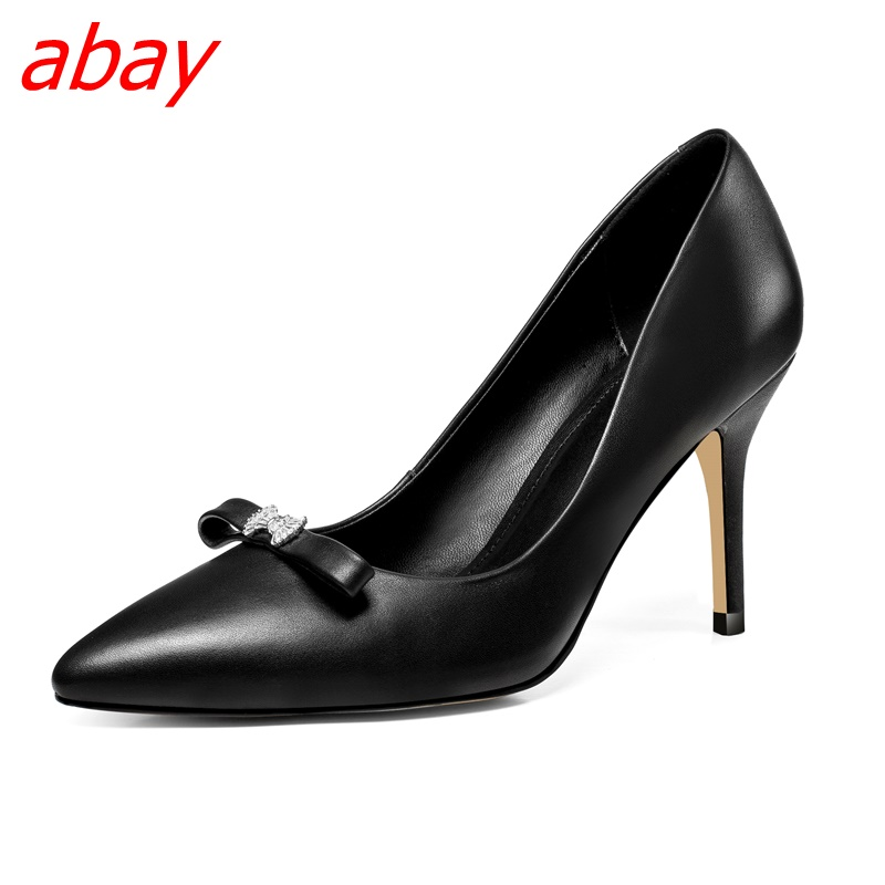 abay 2018 new fashion single shoes high heel shallow mouth shoes ladies temperament pointed stiletto leather professional shoes