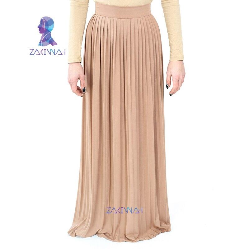 7e196c8b0f New Fashion Long Muslim maxi skirt turkey arab clothing solid Islamic high  waist pleated skirt plus