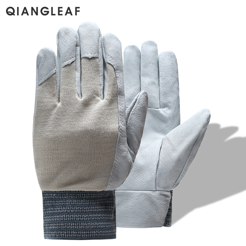 QIANGLEAF Brand Men Leather Work Safety Gloves Mechanic Gardening Riding Working Protective Gloves Mitten Free Shipping 410