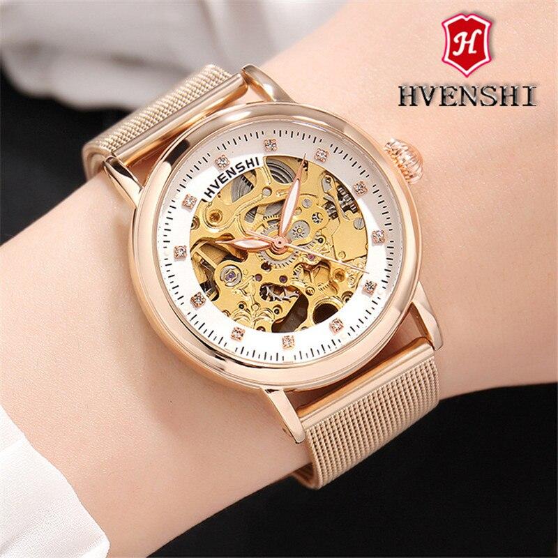 Top marque femmes automatique montre mécanique classique dames en acier squelette horloge mode femmes Bracelet montre dames montres-in Bracelets de montres femme from Montres    1