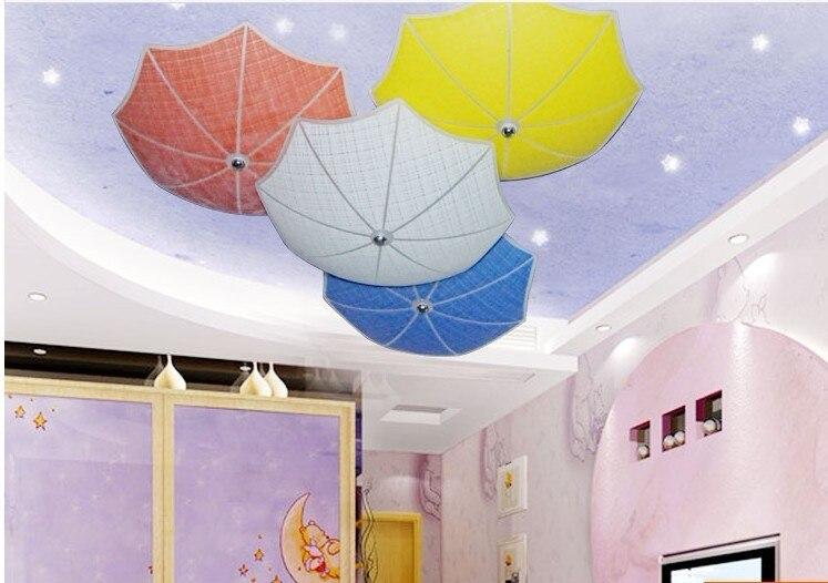 Современные дети Спальня потолок Лампы для мотоциклов разноцветный зонтик Стекло Лампы для мотоциклов мастерил детская комната огни E27 LED