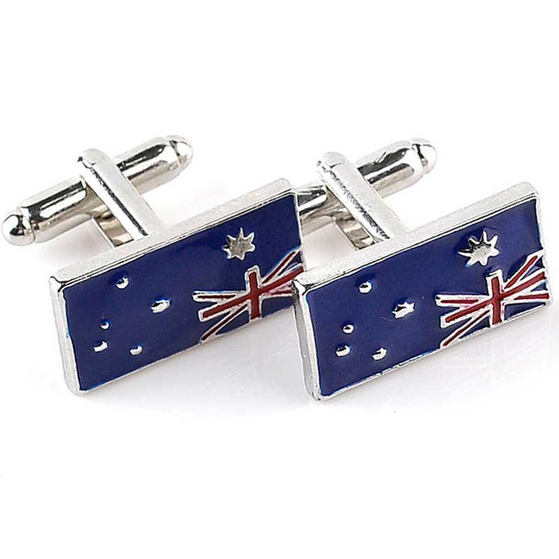 Bendera Australia Manset Pria Berlapis Perak Manset Tombol Fashion Biru Kemeja Manset Kemeja Enamel Manset Australia Patriot