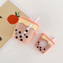 Nette Perle Milch Tee Silikon Kopfhörer Cases Für Apple Airpods Blase Tee Abdeckung Drahtlose Bluetooth Headset Air Schoten 2 Zubehör