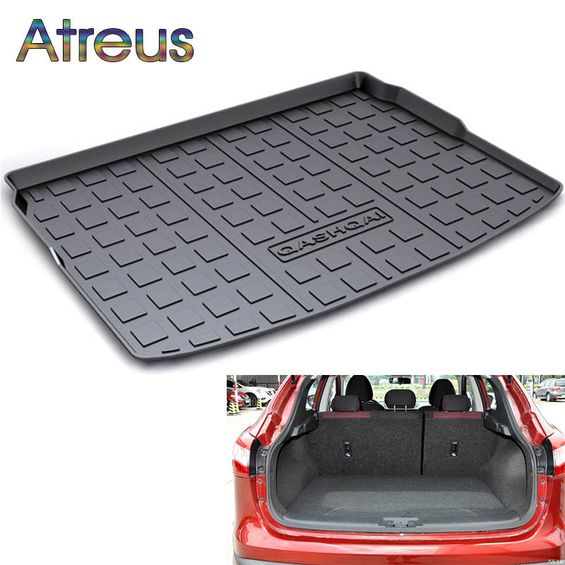 Atreus Car Rear Trunk Floor Mat Durable Carpet For Nissan Qashqai J11 2016 2017 2018 Boot Liner Tray Waterproof Anti-slip mat auto vehicle floor mat full set ridged anti slip universal car fit front rear 4 piece pvc rubber floor mat waterproof non slip