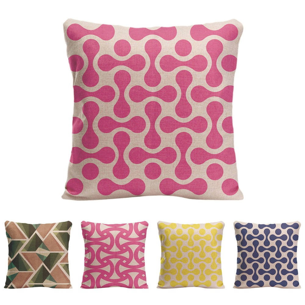 Geometric patterns Cushion Cover Cotton Linen Home Decorative Pillow - Home Textile - Photo 1