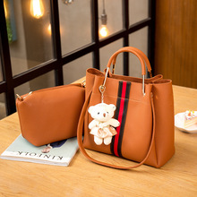 ONEFULL NEW Fashion pu leather shoulder bag women solid zipper bucket two piece set composite 2pcs handbag brand