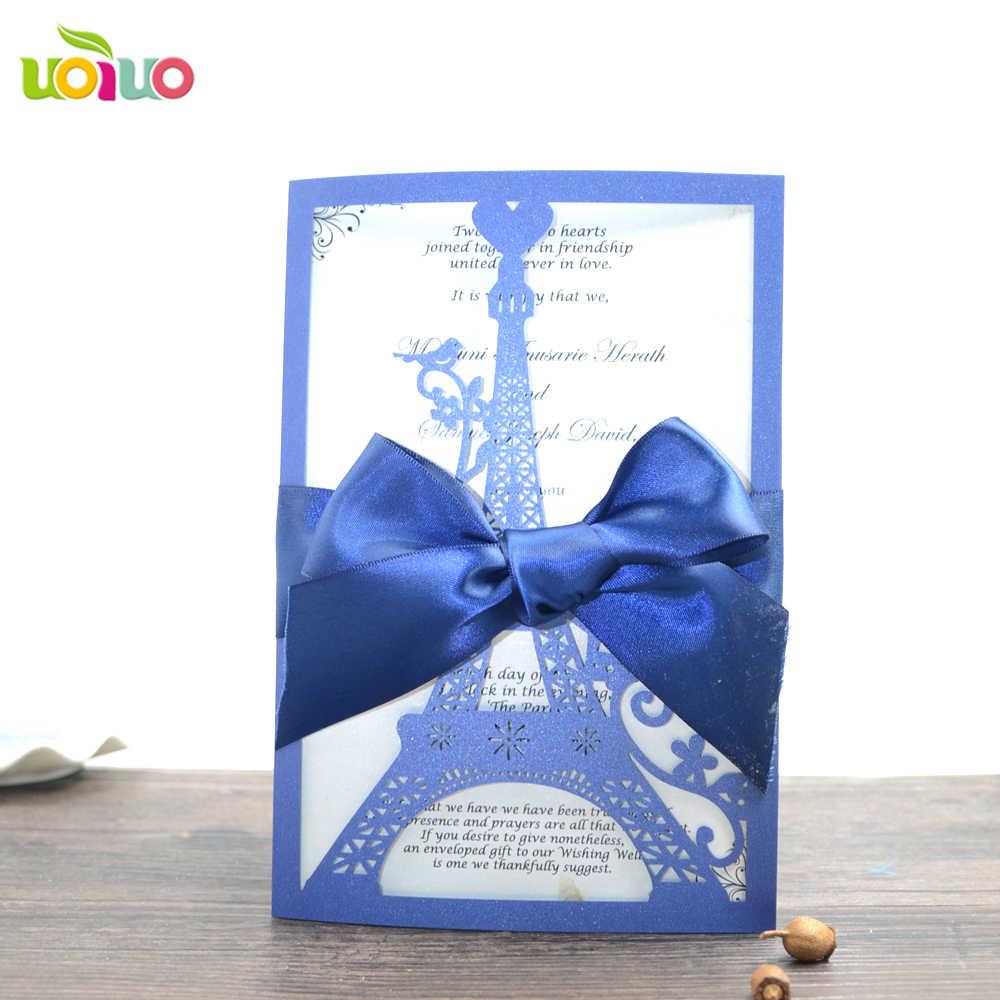 Envío Gratis Adorable Torre Eiffel Azul Cartas De Invitación