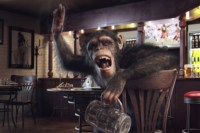 Home Decoration Monkey Glass Bar Table Cigarette Butts Order Fabric Poster Print Accept Customization YR019