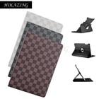 HOLAZING Plaid Auto Sleep Wake up Multi Angle Stand Smart Cover for iPad 2018 9.7 inch 360 Rotation Premium PU Leather Case