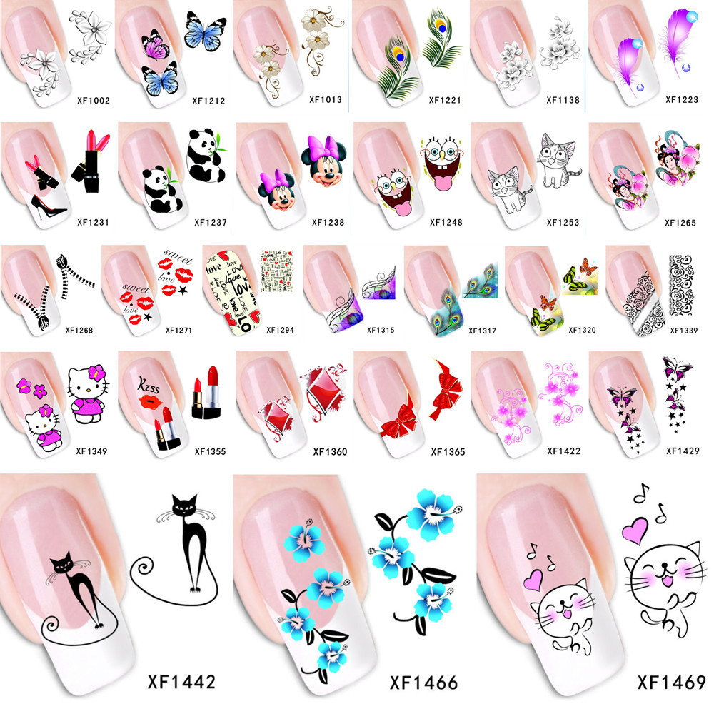 1 Sheet 2015 Top Sell Flower Bows Etc Water Transfer Sticker Nail Art Decals Nails Wraps Temporary Tattoos Watermark Nail Tools