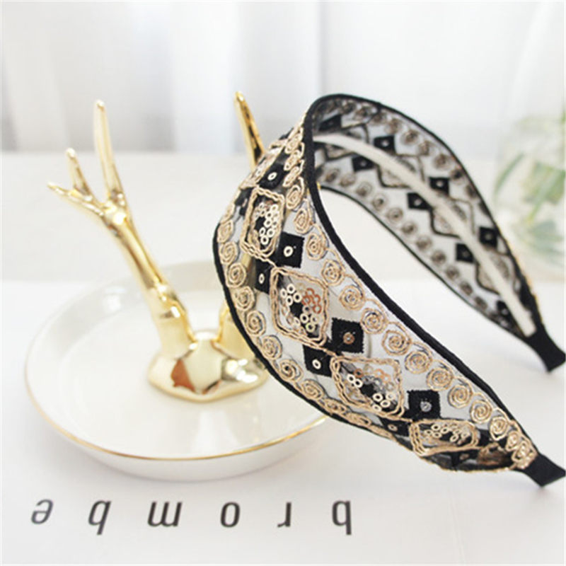 2019 retro fashion high quality temperament lace headband bohemian embroidered fabric extravagant BB headband ladies headdress in Women 39 s Hair Accessories from Apparel Accessories