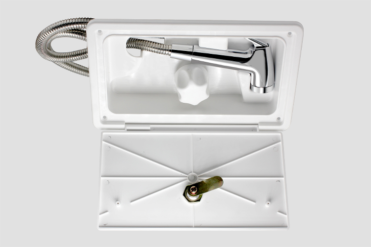 Tytxrv White Rv Exterior Shower Box Kit With Lock Includes