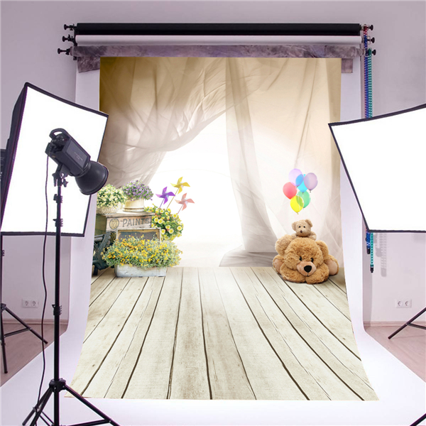 KIDNIU photography backdrop photo props fantasy ballon bear children wooden floor vinyl 5x7ft or 3x5ft photo background for baby retro letter paper background baby photo studio props photography backdrops vinyl 5x7ft or 3x5ft wooden floor