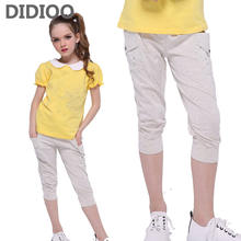 Children Pants for Girls Summer Cotton Short Trousers Kids Calf-length Pants Casual Clothes Infant Trousers 4 8 9 10 12 14 Years(China)