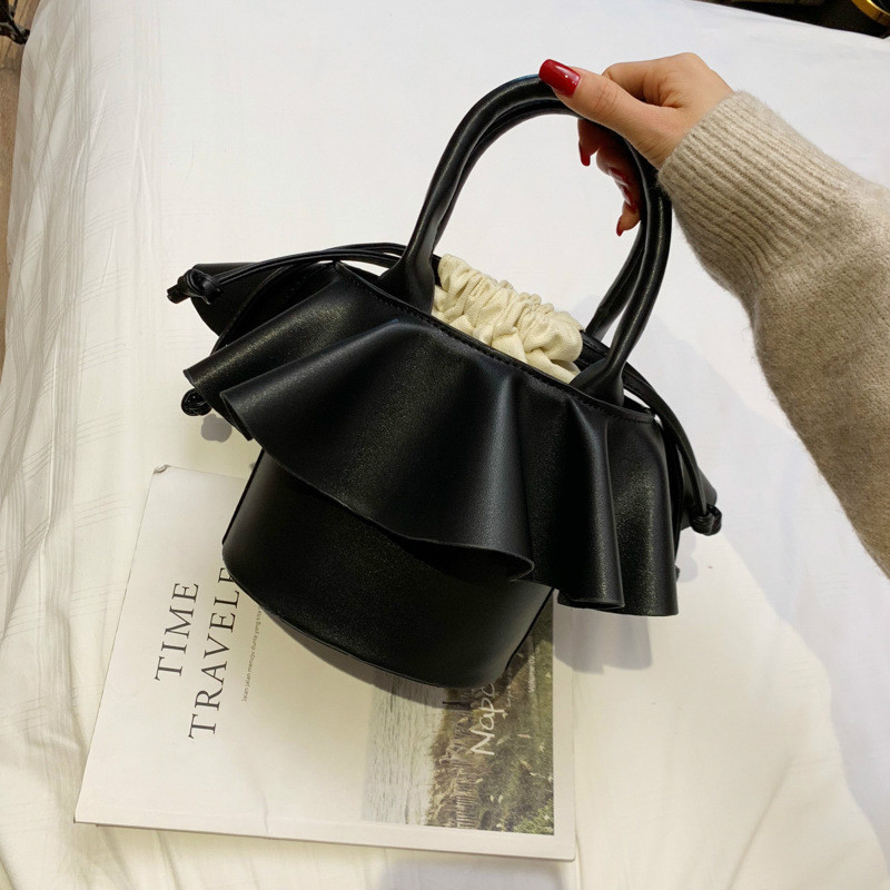 Women Canvas Shoulder Bags Drawstring Handbag Leather Bucket Tote Messenger Bags Purse Satchel Bags For Women