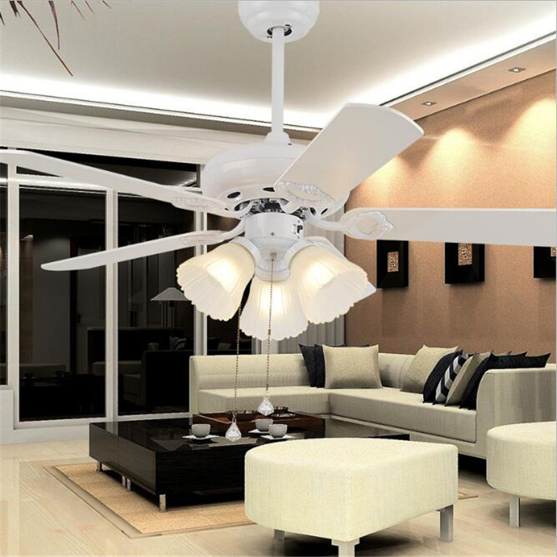 52 European Classical Copper Iron Leaf Led E27*5 Ceiling Fan Light For Dining Room Living Room Bedroom Deco 1587 Lights & Lighting Ceiling Lights & Fans