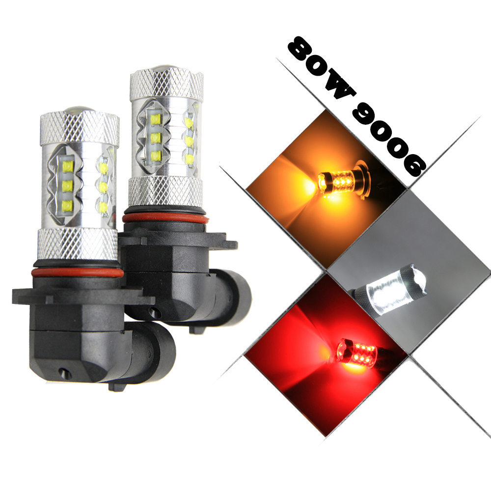 1400 Lumens Extremely Bright Cree chips HB4 9006 LED Bulbs with Projector for DRL or Fog Lights 6000K Xenon White
