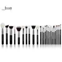 Jessup Black Silver Professional Makeup Brushes Set Make Up Brush Tools Kit Foundation Powder Blushes Natural