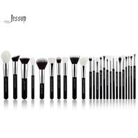Jessup Black Silver Professional Makeup Brushes Set Make Up Brush Tools Kit Foundation Powder Blushes Natural