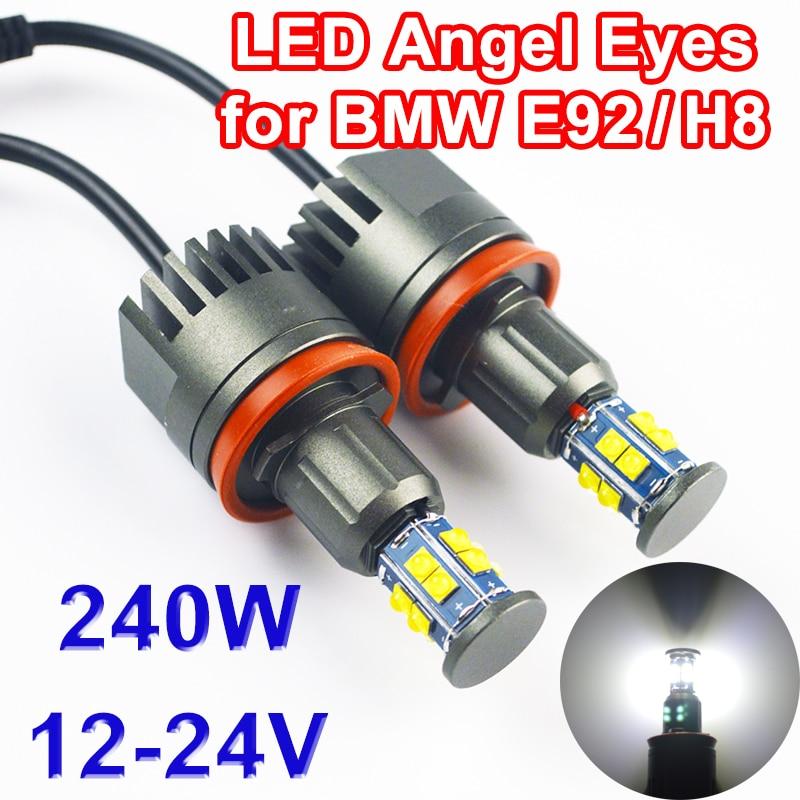 Flytop 2*120 w 240 w Angel Eyes LED Marcador para Chips de LED CREE XTE H8 4800LM Branco 7000 k para BMW E90 E92 X5 E71 X6 E82 M3 E60 E70