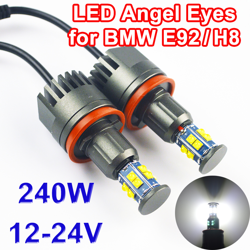 Flytop 2*120W 240W H8 Angel Eyes LED Marker for CREE LED Chips XTE 4800LM White 7000K for BMW E90 E92 X5 E71 X6 E82 M3 E60 E70 free shipping usa cree chip led marker h8 80w led angle eyes for bmw x5 e70 x6 e71 e90 e91 e92 m3 e60 e93 canbus h8 led marker