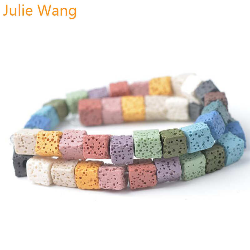 Julie Wang 8/10mm Colorful Natural Square Lava Stone Beads Perfume Volcanic Rock DIY Bracelet Charms Jewelry Making Accessory